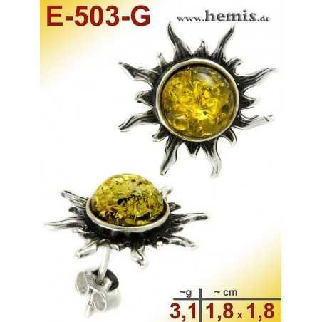 E-503-G Bernstein-Ohrstecker, Bernsteinschmuck, Silber-925