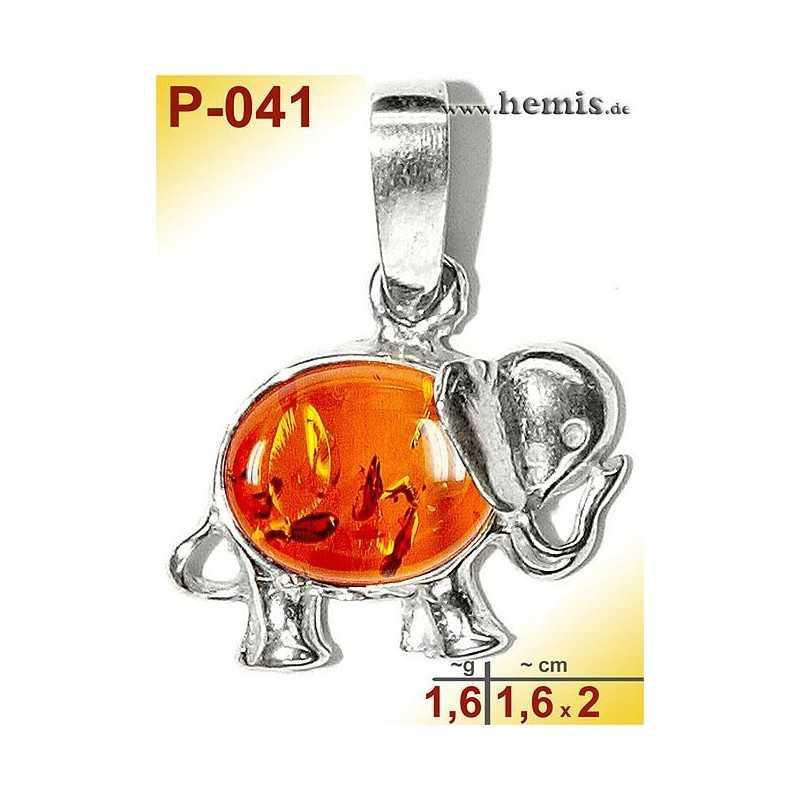 P-041 Bernstein-Anhänger, Bernsteinschmuck, Silber-925, Elefant