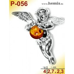 P-056 Amber Pendant, Amber jewelry, silver-925, Angel