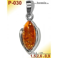 P-030 Amber Pendant, silver-925 cognac, oval, S, modern