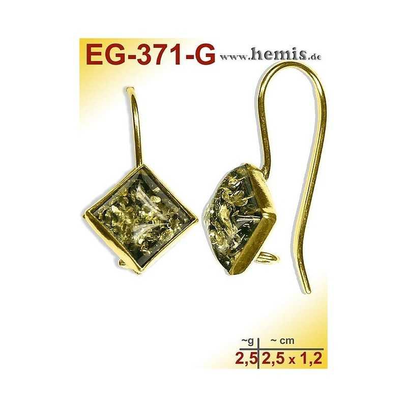 EG-371-G Bernstein-Ohrringe Vergoldet, gruen