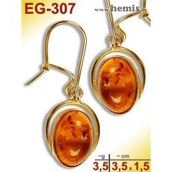 EG-307 Bernstein-Ohrringe Vergoldet, cognacfarbe