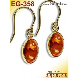 EG-358 Bernstein-Ohrringe Vergoldet, cognacfarbe