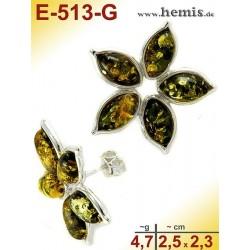 E-513-G Bernstein-Ohrstecker, Bernsteinschmuck, Silber-925