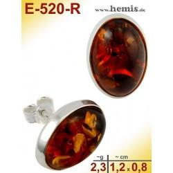 E-520-R Bernstein-Ohrstecker, Bernsteinschmuck, Silber-925