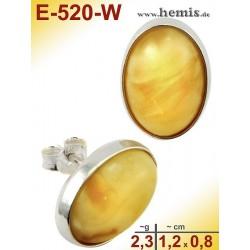 E-520-W Bernstein-Ohrstecker, Bernsteinschmuck, Silber-925