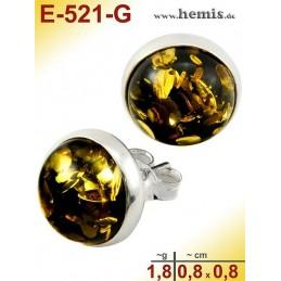 E-521-G Bernstein-Ohrstecker, Bernsteinschmuck, Silber-925