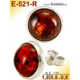 E-521-R Bernstein-Ohrstecker, Bernsteinschmuck, Silber-925