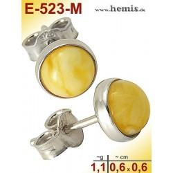 E-523-M Bernstein-Ohrstecker, Bernsteinschmuck, Silber-925