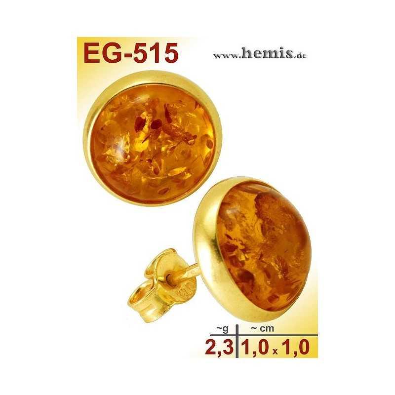 EG-515 Bernstein-Ohrstecker, Bernsteinschmuck, Silber-925, vergo