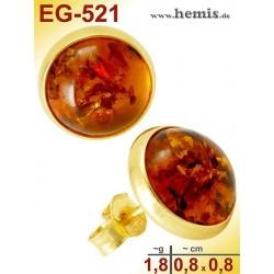 EG-521 Bernstein-Ohrstecker, Bernsteinschmuck, Silber-925, vergo