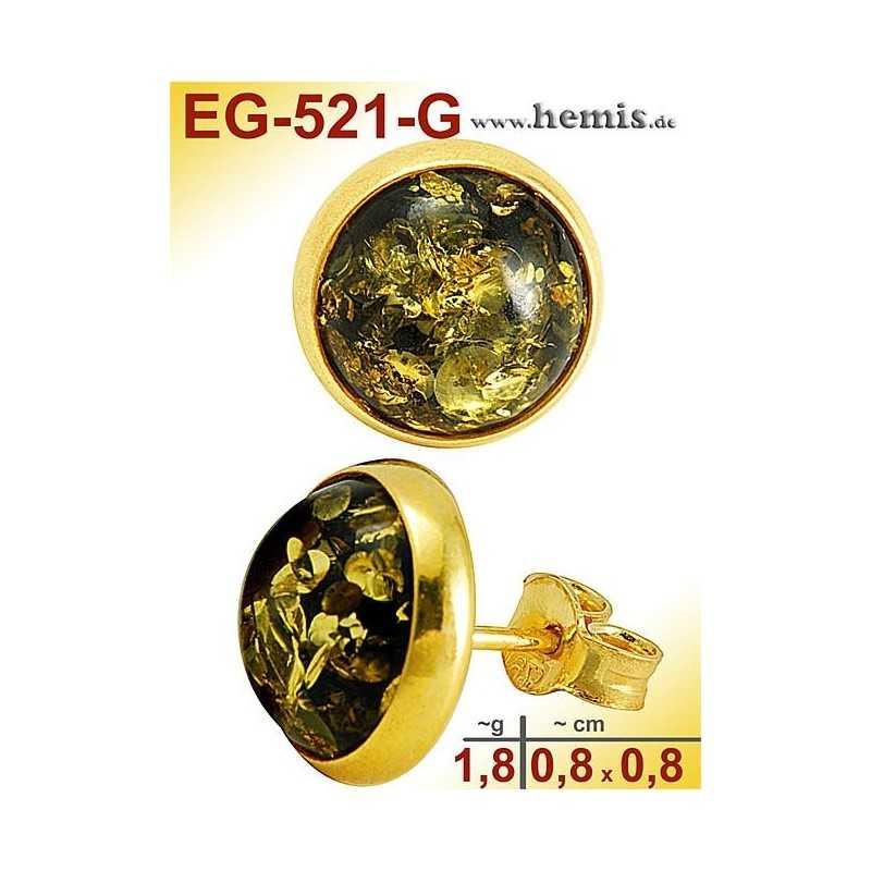 EG-521-G Bernstein-Ohrstecker, Bernsteinschmuck, Silber-925, ver