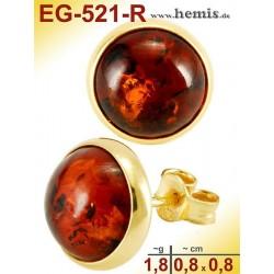EG-521-R Bernstein-Ohrstecker, Bernsteinschmuck Silber-925 vergoldet
