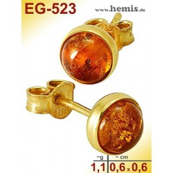 EG-523 Bernstein-Ohrstecker, Bernsteinschmuck, Silber-925, vergo