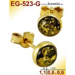 EG-523-G Bernstein-Ohrstecker, Bernsteinschmuck, Silber-925, ver