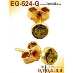 EG-524-G Bernstein-Ohrstecker, Bernsteinschmuck, Silber-925, ver