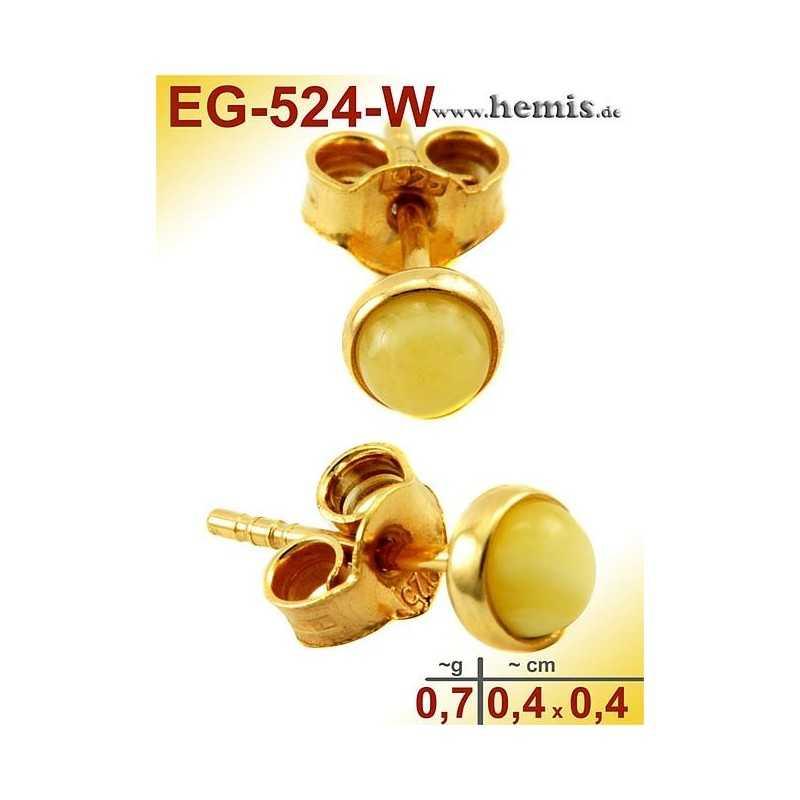 EG-524-W Bernstein-Ohrstecker, Bernsteinschmuck, Silber-925, ver
