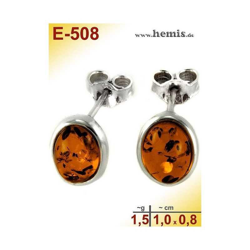 E-508 Bernstein Ohrstecker, Bernsteinschmuck, Silber-925