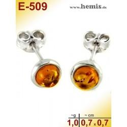 E-509 Bernstein Ohrstecker, Bernsteinschmuck, Silber-925