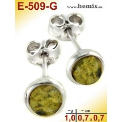 E-509-G Bernstein-Ohrstecker, Bernsteinschmuck, Silber-925