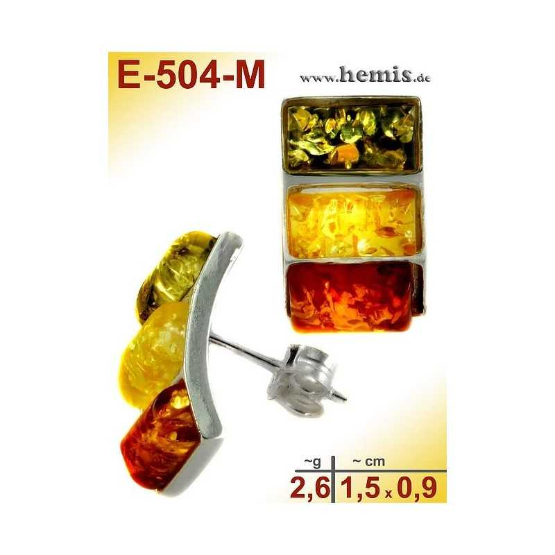E-504-M Bernstein-Ohrstecker, Bernsteinschmuck, Silber-925