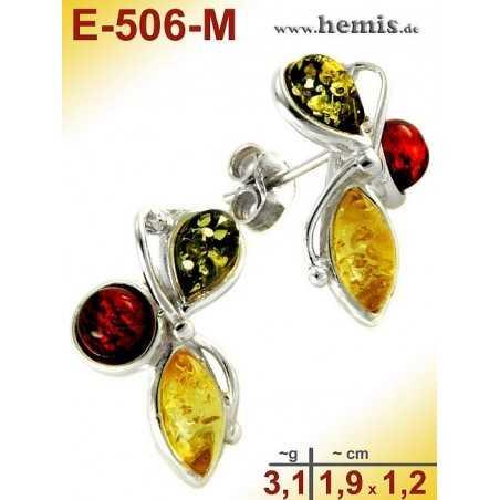 E-506-M Bernstein-Ohrstecker, Bernsteinschmuck, Silber-925
