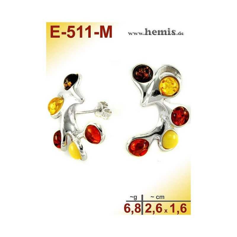 E-511-M Bernstein-Ohrstecker, Bernsteinschmuck, Silber-925