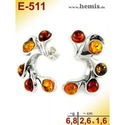 E-511 Bernstein-Ohrstecker, Bernsteinschmuck, Silber-925