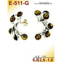 E-511-G Bernstein-Ohrstecker, Bernsteinschmuck, Silber-925