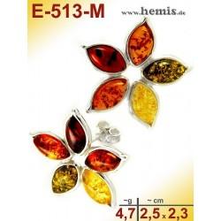 E-513-M Bernstein-Ohrstecker, Bernsteinschmuck, Silber-925