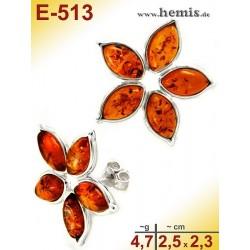E-513 Bernstein-Ohrstecker, Bernsteinschmuck, Silber-925