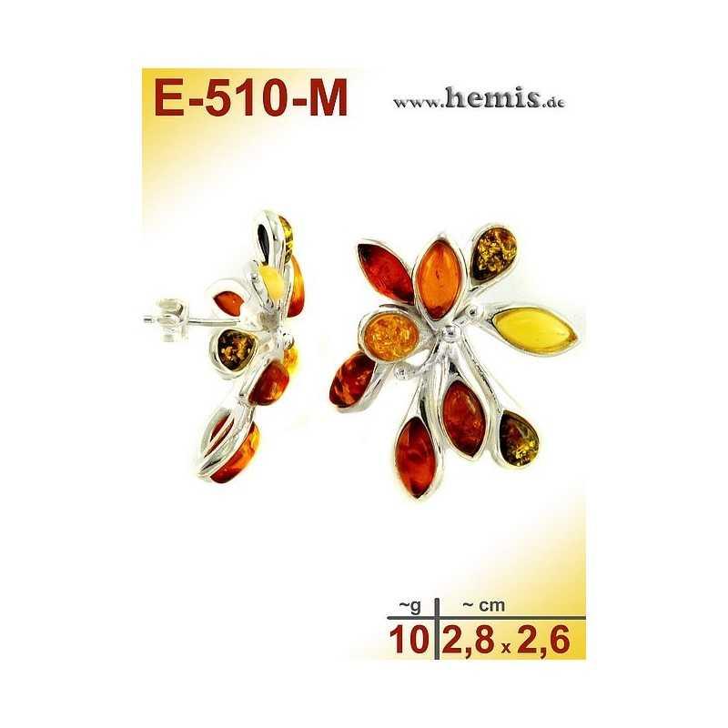 E-510-M Bernstein-Ohrstecker, Bernsteinschmuck, Silber-925