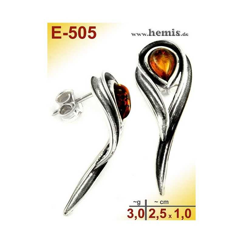 E-505 Bernstein-Ohrstecker, Bernsteinschmuck, Silber-925