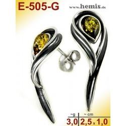 E-505-G Bernstein-Ohrstecker, Bernsteinschmuck, Silber-925