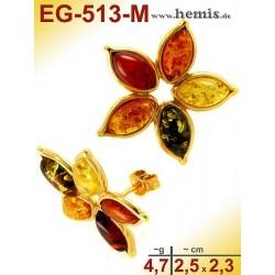 EG-513-M Bernstein-Ohrstecker, Bernsteinschmuck, Silber-925, ver