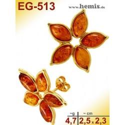 EG-513 Bernstein-Ohrstecker, Bernsteinschmuck, Silber-925, vergo