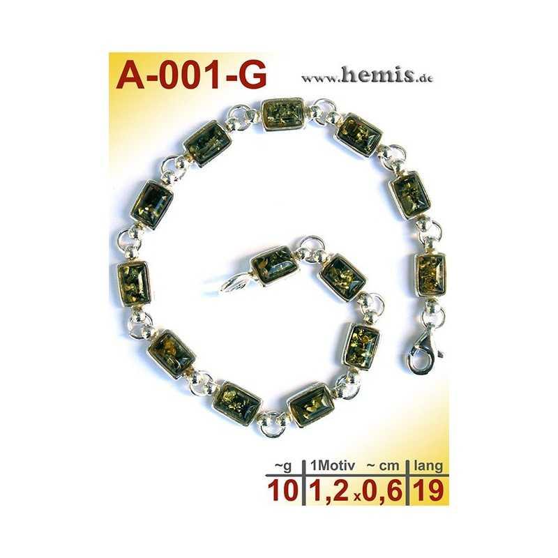A-001-G Bernstein-Armband, Bernsteinschmuck, Silber-925