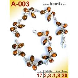 A-003 Bernstein-Armband, Bernsteinschmuck, Silber-925