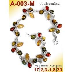 A-003-M Bernstein-Armband, Bernsteinschmuck, Silber-925