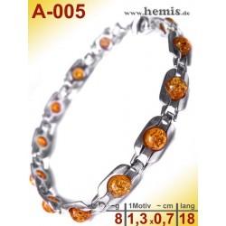 A-005 Bernstein-Armband, Bernsteinschmuck, Silber-925