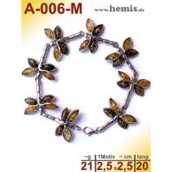 A-006-M Bernstein-Armband, Bernsteinschmuck, Silber-925