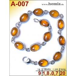 A-007 Bernstein-Armband, Bernsteinschmuck, Silber-925