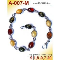 A-007-M Bernstein-Armband, Bernsteinschmuck, Silber-925