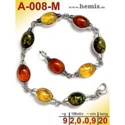 A-008-M Bernstein-Armband, Bernsteinschmuck, Silber-925