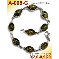 A-008-G Bernstein-Armband, Bernsteinschmuck, Silber-925