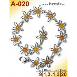 A-020 Amber Bracelet, Amber jewelry, silver-925
