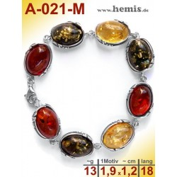 A-021-M Amber Bracelet, Amber jewelry, silver-925