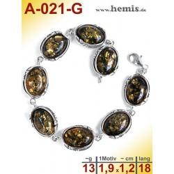 A-021-G Amber Bracelet, Amber jewelry, silver-925
