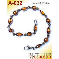 A-032 Amber Bracelet, Amber jewelry, silver-925