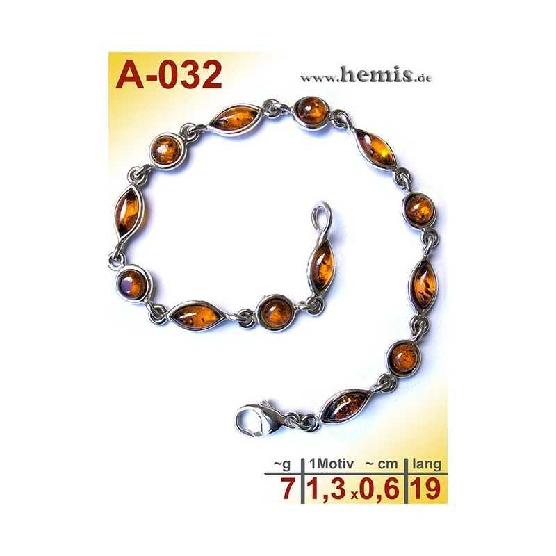 A-032 Bernstein-Armband, Bernsteinschmuck, Silber-925